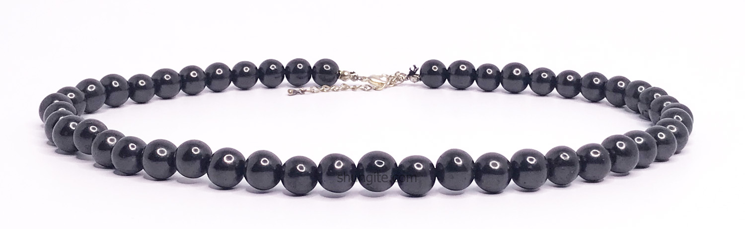 Shungite necklace with beads 10 mm