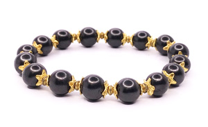 shungite bracelet with gold flowers