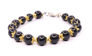 shungite bracelet with gold flowers and lock